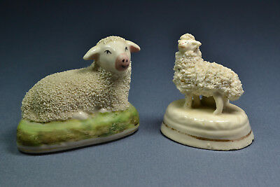 """Antique Staffordshire Miniature Lambs, ca. 1860, 3"""" wide and 2 1/8"""" wide"""