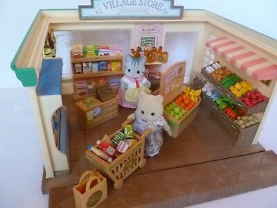 Sylvanian Families - Village Store With Store Keeper & Customer - Over 100 Items