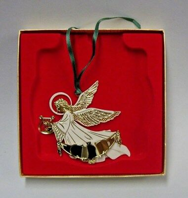 CHEM ART Angel with Harp Etched Brass Christmas Ornament w/ Box - ChemArt