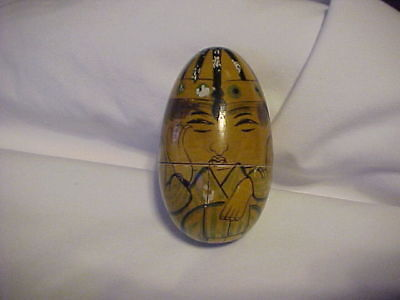 """Vintage 3 1/2"""" Tall Wooden Nested Egg 5 People Nesting ****"""