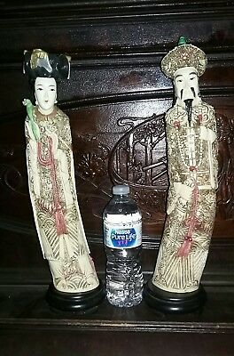 Vintage Chinese Emperor & Empress Figurines ~ Hand Painted ~ Beautiful!!!