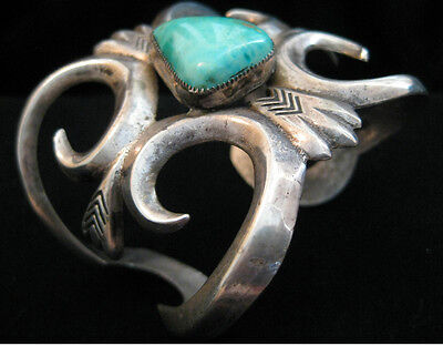 Navajo Sand Cast Bracelet Stone Cabin MIne Turquoise Sterling Silver Early-1920s