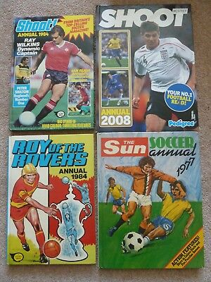Football Annuals The Sun Soccer 1977 Shoot 1984 & 2008 Roy of the Rovers 1984