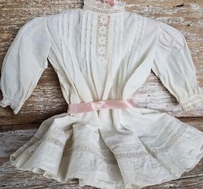 Antique Large Doll Baby Childs Dress Lace Embroidery Cotton Victorian Edwardian