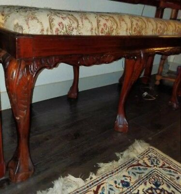 Rare Antique Chippendale Carved  Settee/bench Seat With Needlepoint Embroidery!