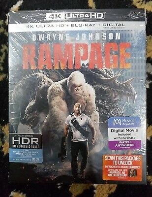 Rampage 4K Ultra HD Blu-ray + Blu-Ray Combo Pack With Slipcover. Free shipping.