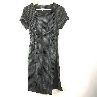 A Pea In The Pod Womens Maternity Dress Sz M Gray Black Plaid Checks Belted