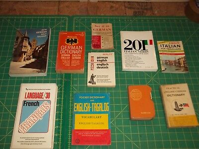 Vintage Lot of Travel Pocket Spanish French German Italian TAGALOG Chinese
