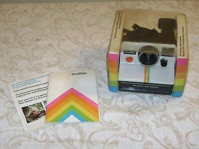 Vintage Polaroid SX-70 OneStep White Rainbow Stripe Land Camera w/ Box & Booklet