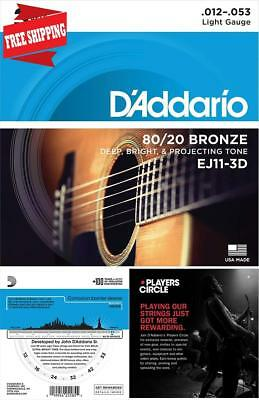 Acoustic Guitar Strings D'Addario 80/20 Bronze Deep Bright Projecting Tone USA