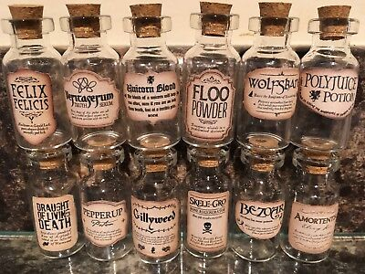 Halloween  Miniature Wizard Potion Bottles & Sticky Labels Kit 5Ml