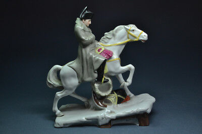 """Antique 19th C. First Empire Porcelain Figure of Napoleon Crossing the Alps 7.5"""""""