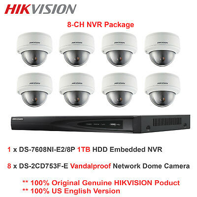 US Hikvision 8CH NVR Package/8 x 2MP VF IP Network Vandal Dome/PoE/1TB