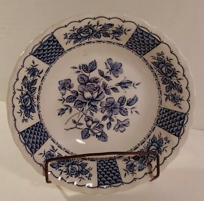 "MYOTT Melody ENGLAND Staffordshire Ironstone BLUE 6"" Cereal Bowls LOT of 6"