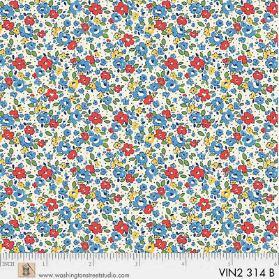 P&B Textiles Washington Street Vintage 30's Florals Blue Tiny Flowers