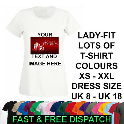 .Personalised T-Shirt Ladies Image Picture Text Lady Fit Christmas Any Occasion