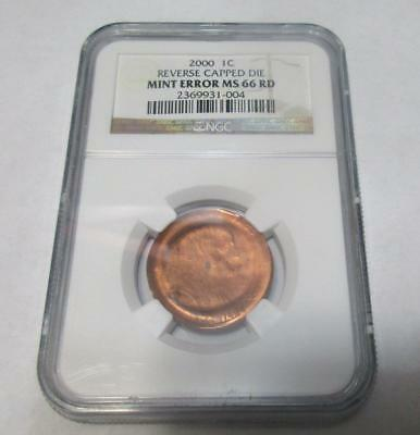 2000 Lincoln Memorial Penny. Reverse Capped Die NGC MS66RD   Mint Error      #MF