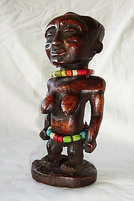 20CT Central African Tribal Ancestral Figure Carving w. Trade Bead Accents (Eic)