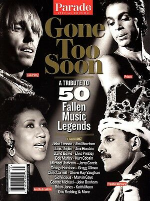 """Parade Magazine: """"GONE TOO SOON ~ Tribute to 50 Fallen Music Legends"""" ~ NEW 2018"""
