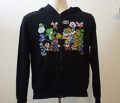 Boys Girls Official Nintendo Black Super Mario Characters Zipper Hoodie Small S