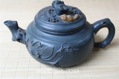 Delicate Chinese Yixing Zisha Teapot Handmade Carving Pine tree cover leaves