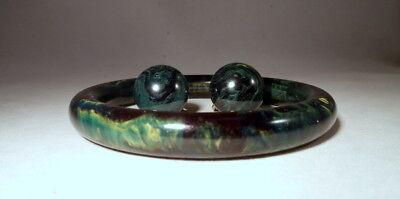 Vintage BAKELITE Marbled Green-Blue-Black-Yellow Bangle & Earrings Set Tested