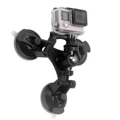 Triple Suction Cup Mount Low Angle Sucker Holder for Gopro Hero 2 3 3+ 4 ^#