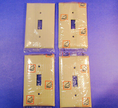 4 SIERRA Bakelite Ribbed Ivory Electrical Switch Plates -NOS in Package