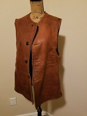 WW2 British Leather Jerkin Vest WW1 Belgium Vintage