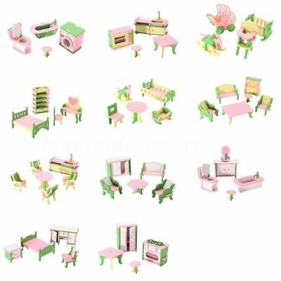 5X(49Pcs 11 Sets Baby Wooden Furniture Dolls House Miniature Child Play Toy X4H9