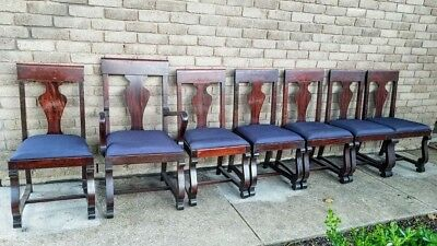 Lot of Antique Walnut Federal American Empire Dining Chairs