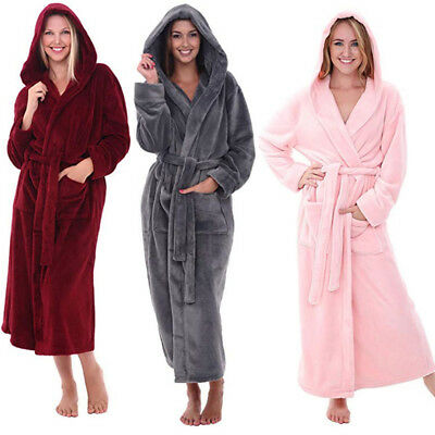 Womens Ladies Winter Warm Super Soft Coral Fleece Hooded Dressing Gown Robe Wrap