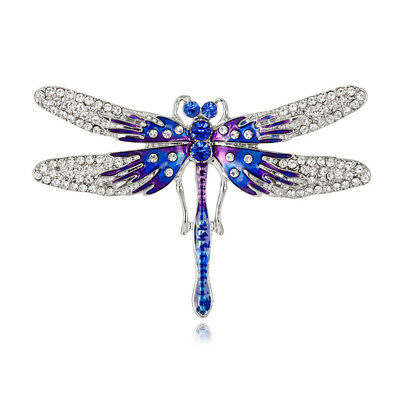 Hot Sale Blue Crystal Enamel White Gold Plated Dragonfly Brooch Pin Lady Gift
