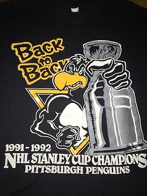 34928a4ef Pittsburgh Penguins Back To Back Stanley Cup Champions 1991 1992 Vtg 90s NHL  XL