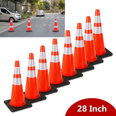 "8PCS Traffic Cones 28"" Safety Cones with Two Reflective Collars Road Parking PVC"
