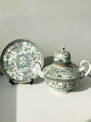 Large antique Chinese Qing Dynasty Exports Teapots with plate. Very nice........
