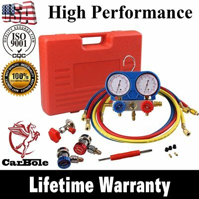 HVAC A/C Refrigeration Kit AC Manifold Gauge Set Brass R134A Auto Service Kit US