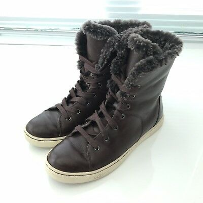 d73ac822b20 UGG CROFT LUXE Quilt Chocolate Leather Fur High Top Sneakers Womens ...