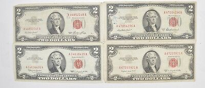 Lot (4) Red Seal $2.00 US 1953 or 1963 Notes - Currency Collection *520