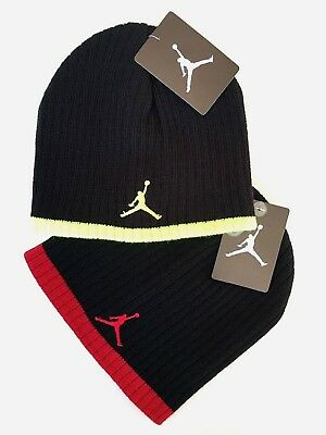 20cb0f70e9e Nike Jordan Jumpman Black Volt or Red Knit Beanie Skull Cap Youth Boys 8-20