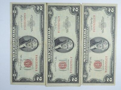 Lot (3) Red Seal $2.00 US 1953 or 1963 Notes - Currency Collection *052