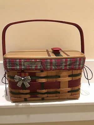 LONGABERGER 2008 Christmas Collection Wrap It Up Basket Combo w/ Lid & Tie On