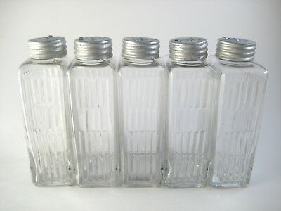 Set of 5 Sneath Glass Spice Shakers Tall Thin Rectangular Hoosier Style Jars