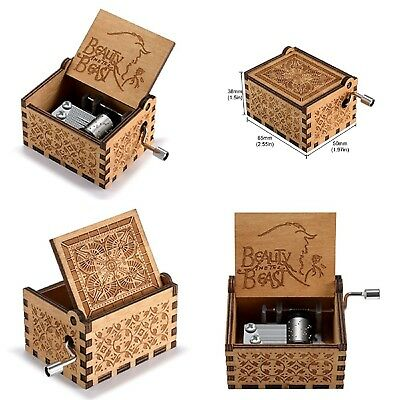 Wooden Hand Crank Beauty and the Beast Theme Music Box 18 Note Antique Kids Gift