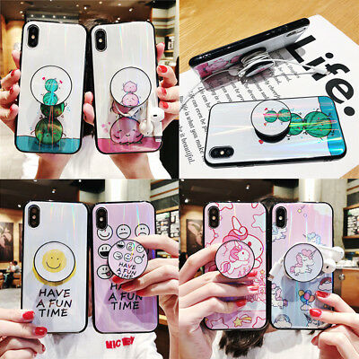 For iPhone XS XR 8 7 6 Luxury Cartoon Pop Up Holder Bracket Soft TPU Case Cover
