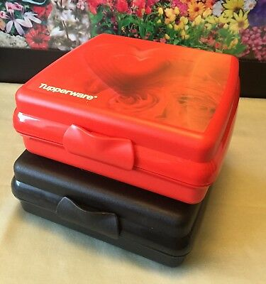 2 - Tupperware 3752D Sandwich Keepers Red Heart & Roses / Black Made in the USA