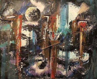 """Beautiful """"War Of The Worlds"""", Abstract Art Original Canvas Painting."""