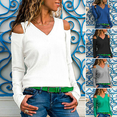 US Womens Cold Shoulder Chunky Knit Jumper Knitwear Oversized Baggy Sweater Tops