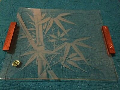 Etched Glass Rectangular Glass Plate Made In Hawaii Wood Handles
