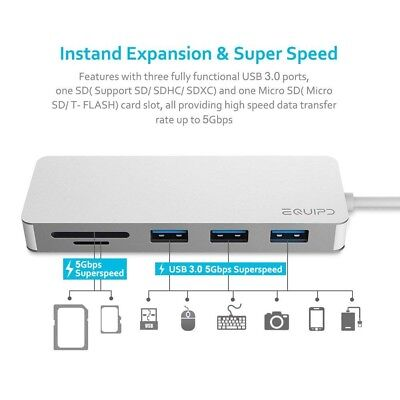 USB C Hub, EQUIPD 5 IN 1 Aluminum Type C Adapter with 3 USB 3.0 Ports SD/SDHC/m